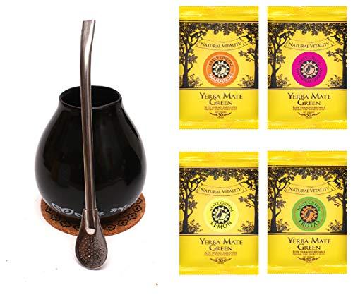 Mate Green Trinkset \'Mate Tee | Mate Geschenkset Original | Becher Bombilla 19 cm, Keramik -Edelstahl | Mate Tee aus Brasilien | Hohe Qualität | Fruchtiger Mate Tee | nicht rauchgetrocknet |