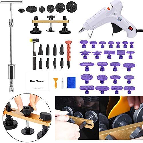 SUPAREE Auto Dellen Reparatur Werkzeuge mit Golden Dent Lifter + Knallt eine Dent Bridge Dent Puller Kit + Tap Down Tools Gummi Hammer + Klebestifte [Klebepistole enthalten] (41 PCS)