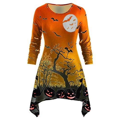 Damen Kleid Große Größen FGHYH Frauen Winter Übergröße Kürbis Bat Drucken Taschentuch Halloween T-Shirt Tops(Orange, XXL)