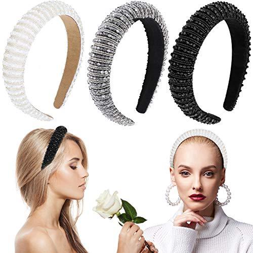 3 Pieces Rhinestone Padded Headband Wide Edge Headwear Diamond Crystal Beaded Headband Glitter Hairband Hair Accessories for Women Girls Party Supplies (Chic Colors)