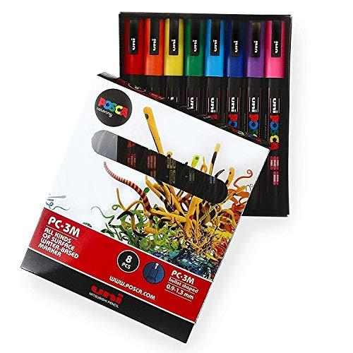POSCA Colouring PC-3M Farbmarker-Set mit 8 Farben–in Geschenkbox