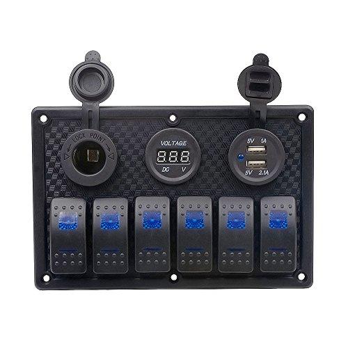YAALO 5 versnellingen tuimelschakelaar met twee USB digitale spannings-indicator stekkerdoos splitters 6 LED aan/uit schakelaar waterdicht A zwart
