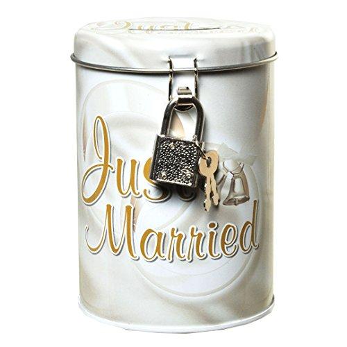 Spardose Sparbüchse Hochzeit Trauung Wedding Brautpaar Geschenk - Metall-Spardose - Just Married - 11 x 8,5 cm