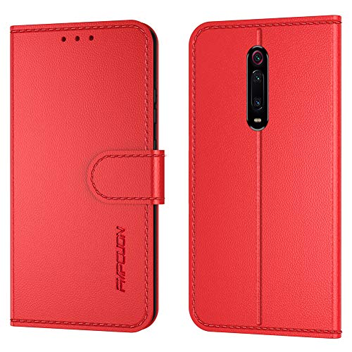 FMPCUON Handyhülle Kompatibel mit Xiaomi Mi 9T/Mi 9T Pro/Redmi K20/K20 Pro Hülle Leder PU Leder Tasche,Flip Hülle Lederhülle Handyhülle Etui Handytasche Schutzhülle für Mi 9T,Rot