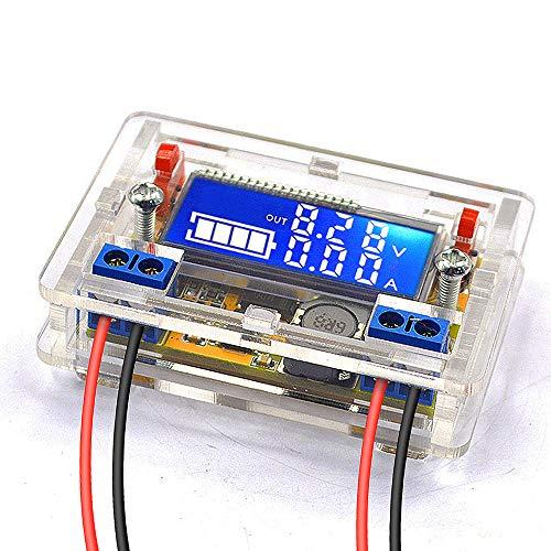 DiyStudio DC-DC 降圧モジュールコンバーター調整可能なパワーバック5V-23V 9V 12Vから0〜16.5V 6V 5V LCD画面 定電圧 降圧電圧 電源モジュール電圧電流LCD表示まで 電圧レギュレータ トランス 基板 (3Aモジュール 透明ハウジング付き)