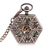 J-Love Steampunk Snowflake Fashion Reloj de Bolsillo mecánico de Oro Rosa para Cadena con Forma Hexa...