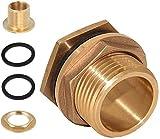 Boccola per canna da pioggia da 1/2 pollice in ottone, DN15 (NPT 1/2 pollice) diametro 20 mm, utilizzata per rubinetti, barili di pioggia, serbatoi d'acqua (confezione da 2)