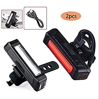 Maxfind Ultra Bright Bike Tail Light, LED Bicycle Rear Light Powerful USB Chargeable, 5 Light Mode Headlights with Red & White for Cycling Safety Flashlight Light