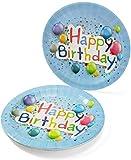 UMOI Einweg Geburstag Partygeschirr Set - 30 Hochwertige Pappteller, 30 Pappbecher und 60 Servietten für den Kindergeburstag 120tlg. (Geburtstag Ballon) - 2