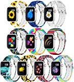 Watch Bands for Apple Watch 38mm/40mm for Women,Fadeless Printed Pattern Replacement Wristband Silicone for Apple Watch Bands,Suit for iWatch Series 6/5/4/3/2/1,10Pack