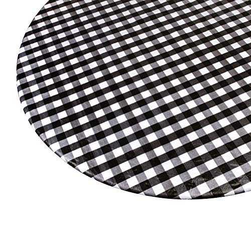 Round Vinyl Table Cover, Flannel Backed with Fitted Elastic Edge - Fits Tables 40' - 44' Diameter - Black and White Plaid Checkered Tablecloth