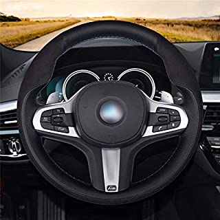 KAREX - Steering Covers - Black Genuine Leather Suede Car Steering Wheel Cover for for BMW M Sport G30 G31 G32 G20 G21 G14...
