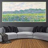 Cuadro de arte de Claude Monet 《Campo de lirios amarillos en Giverny》 Arte en lienzo Pintura al óleo Decoración de pared famosa Decoración del hogar 80x165cm (32x65in) Con marco