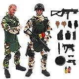 deAO Soldati delle Forze Armate Set di 2 Action Figure unità di Difesa Militare Bambole da Combattimento con Accessori Inclusi