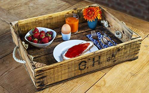 Tablett Altholz ca. 49x39 cm aus gewachstem und geöltem Holz von Kirschsteige bzw. Obstkiste Vintage, Shabby-Chic mit Tau