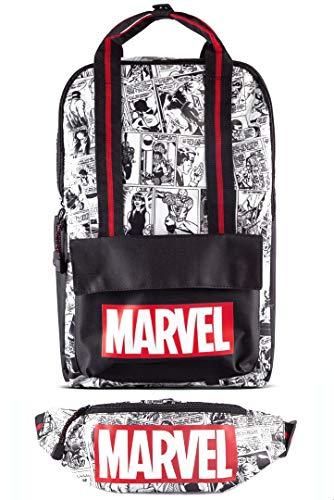 Difuzed Marvel Rucksack - Comic (schwarz/weiß) + Gürteltasche