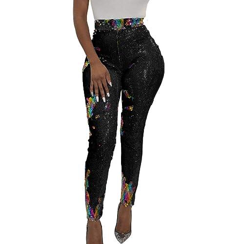 82783fdb583a4 Allumk Women's Sequins Pants High Waisted Shiny Leggings Skinny Long  Trousers