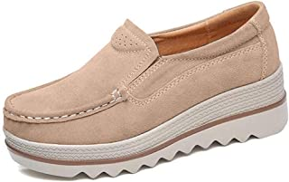 Women Comfy Slip-On Platform Shoes Women Platform Slip On Loafers Comfort Wedge Shoes