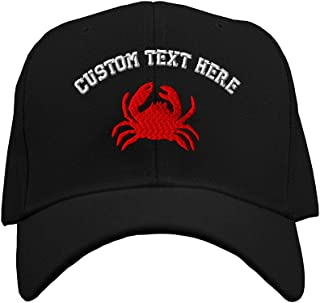 Custom Text Embroidered Crab Style 3 Unisex Adult Hook & Loop Acrylic Adjustable Structured Baseball Hat Cap - Black, One Size