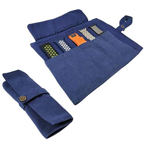 YOOSIDE Uhrenarmband Zubehör, Smartwatch Band Baumwolle Canvas Tragbare Aufbewahrungstasche Tasche Organizer-kompatibel mit Apple Uhrenarmband, Garmin Uhrenarmband, Samsung Uhrenarmband,Blau