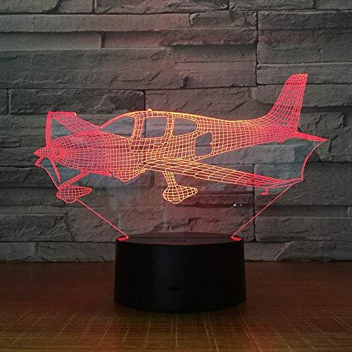 DCLINA Luz Noche avión 3D 7 Colores Luz Humor táctil USB Mesa Escritorio Luz LED Presente Niños Fiesta en casa Cumpleaños Regalo Navidad