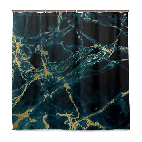 Emoya Duschvorhang schwarz Gold marmor wasserdicht & schimmelfest digital Bedruckt Badvorhänge Badezimmer Zubehör 180 x 180 cm
