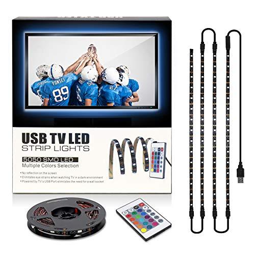 Led Strip Lights with Remote for 40-60in TV Backlights 6.56ft USB Kit with Remote 16 Color Changing 5050 LEDs Bias Lighting for HDTV backgrand.