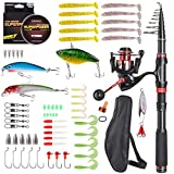 Portable Fishing Rod and Reel Combos Carbon Fiber Telescopic Fishing Rod Set Come with All Accessories 64 Pcs for Travel Saltwater Freshwater Fishing (Rod and Reel Combos with Full Kits, 3.0m/9.84ft)