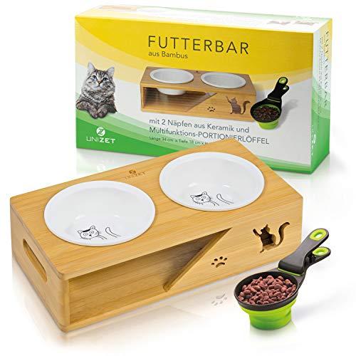 UNIZET® - Premium Katzennapf - für eine gesunde Fresshöhe - erhöhter Futternapf Katze - mit Portionierlöffel - Keramik Fressnapf Katze - Bambus Futterstation Katzen
