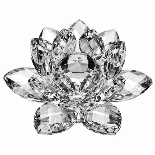 Amlong Crystal 3 inch Clear Crystal Lotus Flower with Gift Box