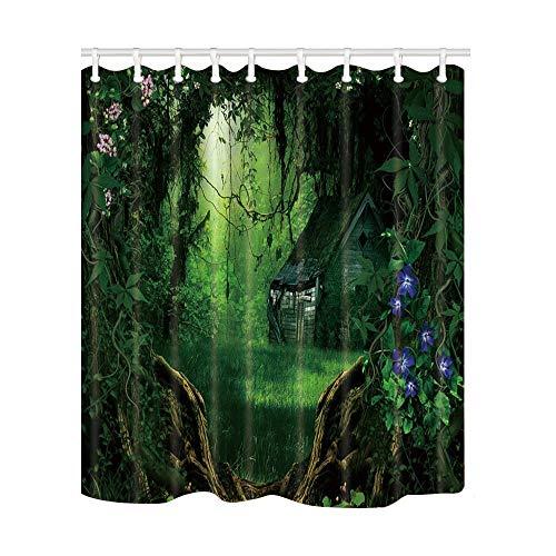 JoneAJ Holloween Decor Deep Forest House Horror gótico Fantasma Casa Madera Arcos Cirrus DoorShower Cortina Impresión 3D Baño Tela poliéster Revestido Impermeable 12 Ganchos 71 Pulgadas