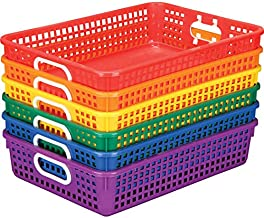 """Really Good Stuff Plastic Desktop Paper Storage Baskets for Classroom or Home Use – Plastic Mesh Baskets in Fun Rainbow Colors – 14.25"""" x 10"""" – (Set of 6)"""