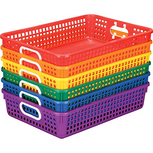 "Really Good Stuff Plastic Desktop Paper Storage Baskets for Classroom or Home Use – Plastic Mesh Baskets in Fun Rainbow Colors – 14.25"" x 10"" – (Set of 6)"