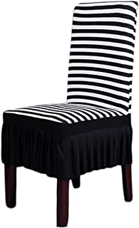 Dining Room Chair Covers, SHZONS™ Stretch Stripe Ruffled Long Skirt Dining Chair Slipcover, Black/White(Style A)