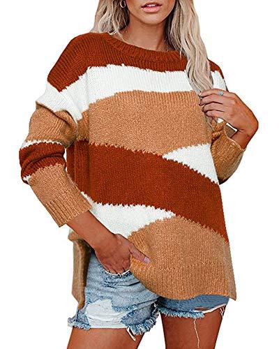 SLYZ Damas Europeas Y Americanas Otoño/Invierno Suéter De Punto Suelto Rayas Irregulares Jersey De Bloque De Color Mujeres
