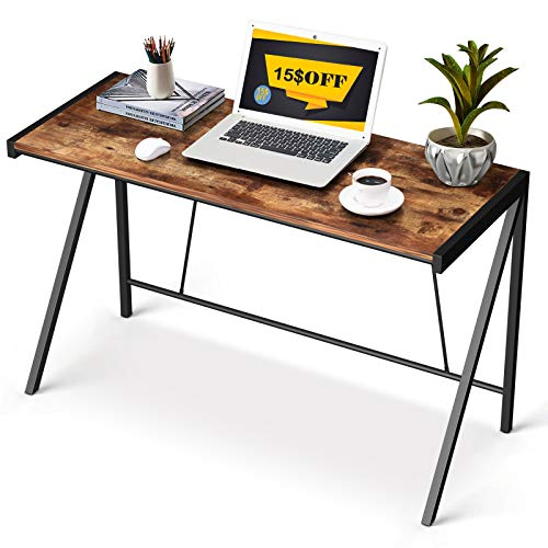 "Computer Desk 40"" Office Writing Desk, Retro Home Study Laptop Corner Desk Industrial PC Table with K Shaped Steel Frame, Rustic"