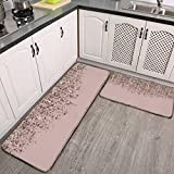 2 Pcs Kitchen Rug Set, Blush Pink Rose Gold Bronze Cascading Glitter Non-Slip Kitchen Mats and Rugs Soft Flannel Non-Slip Area Runner Rugs Washable Durable Doormat Carpet