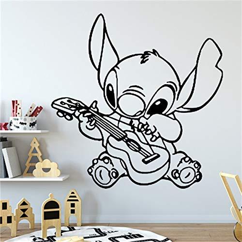 Spelen de gitaar muur kunst Vinyl Sticker Lilo & Stitch muur Decal Decor voor Thuis Baby Kwekerij Kids kamer Decoratie