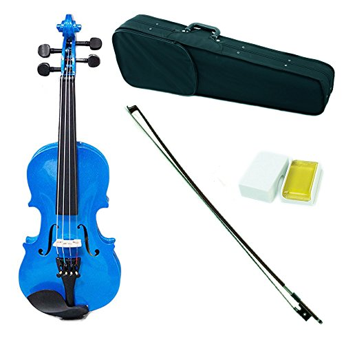 SKY Shinny 1/10 Size Kid Violin with Lightweight Case, Brazilwood Bow and Bright Blue Color
