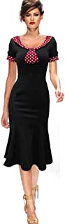 New 40's 50's Rockabilly Vintage Style Hourglass Trumpet Dress