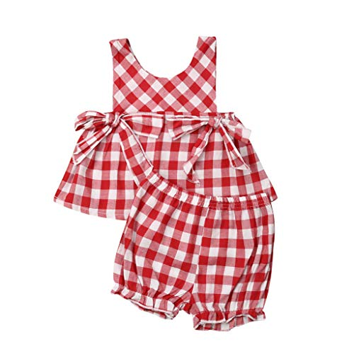 LEXUPE Neugeborene Baby Mädchen gekräuselte Plaid Bow PP Laterne Shorts 2PC Outfits Sets (Rot, 80)