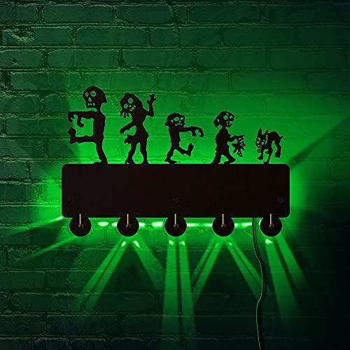 Byrhgood Zombis Chase Mueble Montado Llave Organizador Percha Hook Horror Zombies Ataque Escena LED Luz Brillante En Entrada Oscura Llavero Soporte