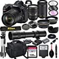 Nikon D850 DSLR Camera with 24-120mm VR and 70-300mm Lens Bundle with 420-800mm Preset f/8 Telephoto Lens + 128GB Card, Tripod, Flash, and More (23pc Bundle) from AL's Variety
