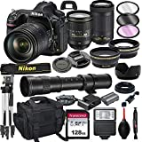 Nikon D850 DSLR Camera with 24-120mm VR and 70-300mm Lens Bundle with 420-800mm Preset f/8 Telephoto Lens + 128GB Card, Tripod, Flash, and More (23pc Bundle)