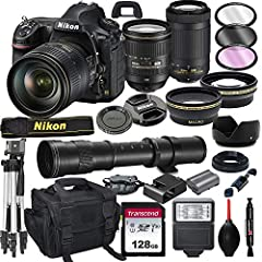 This Al's Variety Camera Bundle Includes 58mm Wide Angle And Telephoto Auxiliary lenses + 77-58mm Adapter Ring , 77mm 3pc Filter Kit (UV , CPL , FLD) , 77mm Tulip Threaded Lens Hood , Transcend 128GB 300S UHS-I SDXC Memory Card, Camera wrist Grip , D...