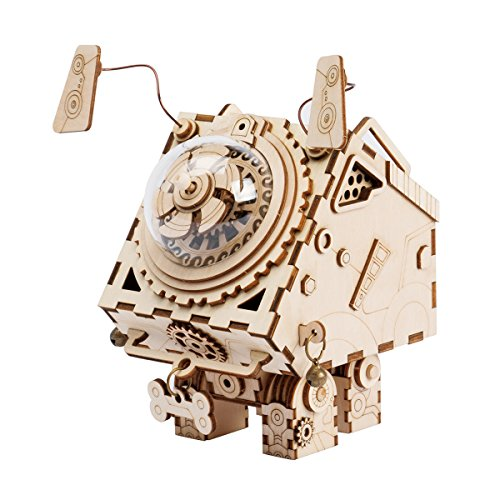 ROKR DIY Music Box Kit with a Lovely Song-Wind Up Music Box Mechanism-3d Wooden Puzzle Building Set-Construction Model Kits for Boys and Girls When Christmas/Birthday/Valentines Day