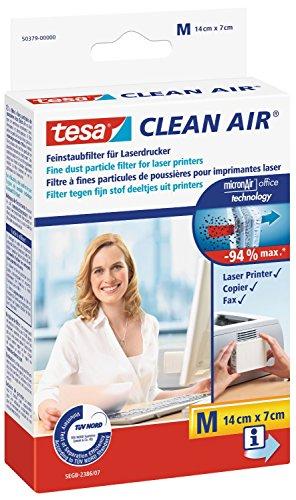 tesa Clean Air® Fein Staubfilter für Laserdrucker, Größe M [14 cm x 7 cm] (2 Stück)