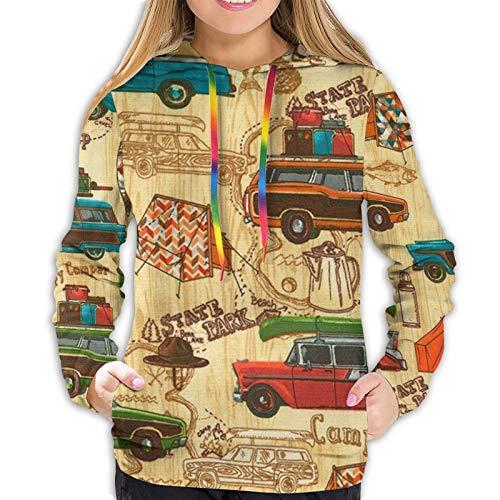 Damen Hoodies Vintage Happy Camper Rustikaler Bär 3D Pullover Kapuzen-Sweatshirt mit Tasche Gr. M, Schwarz