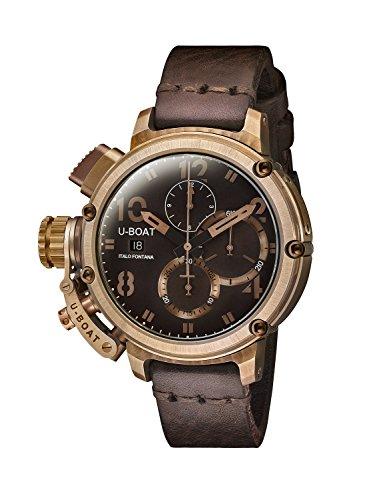 U-Boat Chimre 46mm Bronze/A Herren Automatik Uhr mit Braun Zifferblatt Chronograph-Anzeige und braun Lederband 7474.0