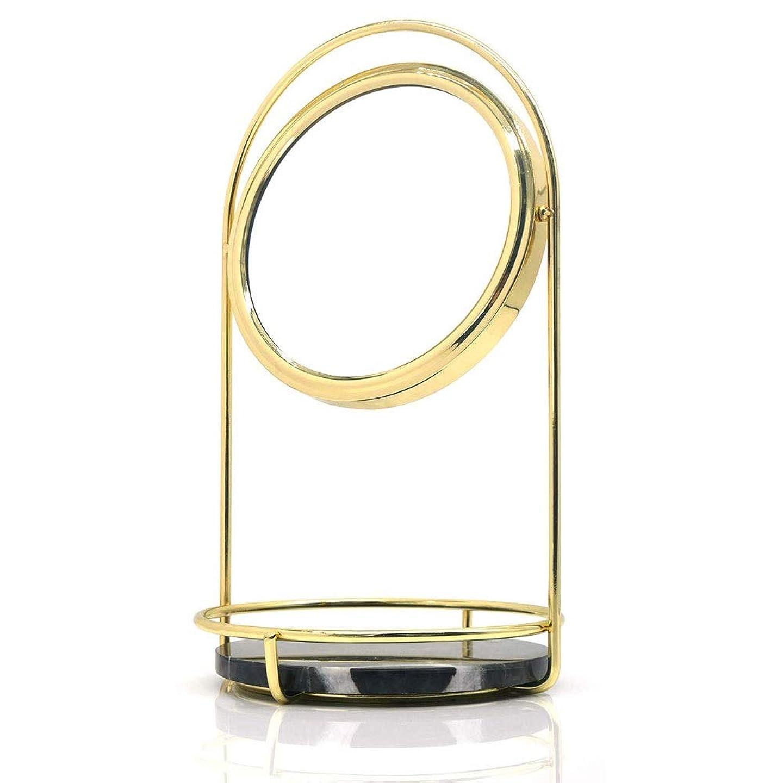 病んでいる中ヒステリックメイクアップミラーダブルドレッサー化粧テーブルデスク用ブラックマーブルトレイビューティーミラーヴィンテージバニティミラーと拡大鏡ラウンド360°回転化粧鏡を両面 - ゴールド&ブラック